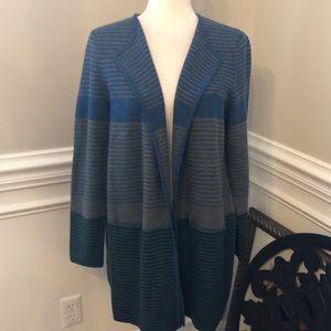 Talbots pure merino striped long sweater cardigan